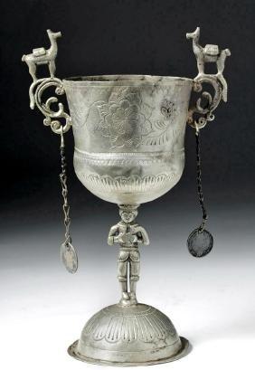 19th C. Bolivian Silver Chalice - Alpacas