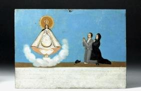 Early 20th C. Mexican Painted Ex Voto