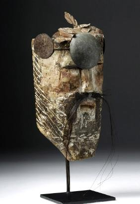 Mexican Vera Cruz Moro Chino Wood Mask Copper Headdress