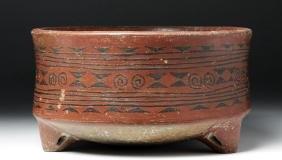 Large & Richly Decorated Chupicuaro Pottery Tripod Bowl