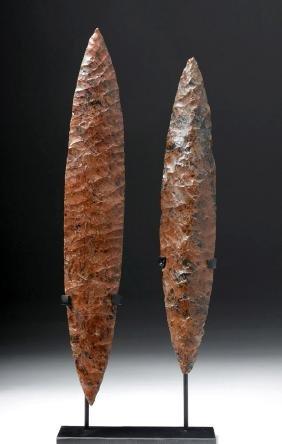 Pair of Colima Mahogany Obsidian Spear Blades