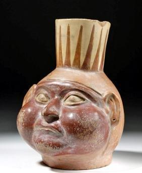 Amusing Moche Polychrome Pottery Portrait Jar