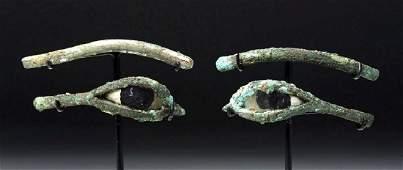 Egyptian Bronze / Stone Mummy Mask Eyes