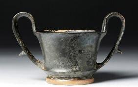 Greek Boeotian Blackware Kylix For Wine