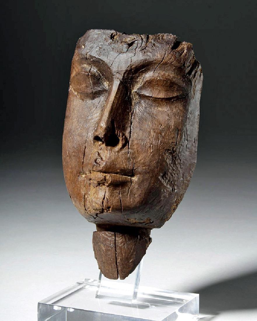 Egyptian Cedar Mummy Mask, Realistically Carved
