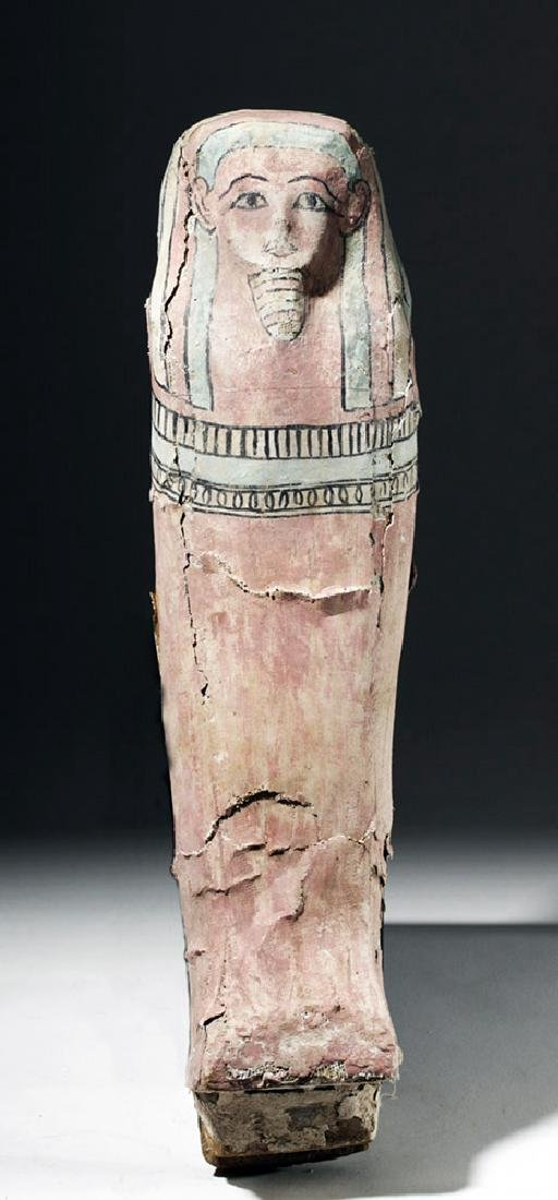 Rare Egyptian Painted / Gesso / Wood Coffin Model