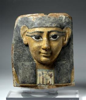 Egyptian Wooden Sarcophagus Mask / Bust