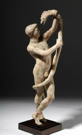 Important Greek Terracotta Statue Of Man & Serpent