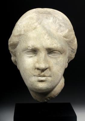 Hellenistic Greek Marble Goddess Head, Ex-christie's
