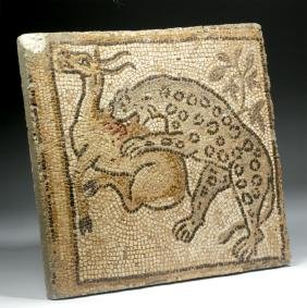 Lovely Roman Mosaic With Leopard & Antelope