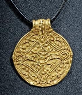 Viking 24k Gold Bracteate Pendant W/ Triskele