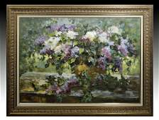20th C. Russian Painting by Alexander Smirnov - Lilacs