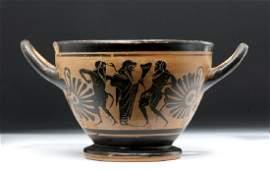 Fine Greek Attic Black Figure Kylix  Dionysos  Satyrs