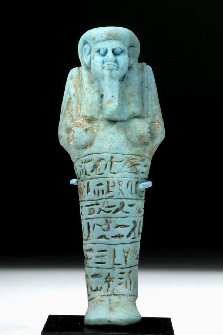 Fine 26th Dynasty Egyptian Faience Ushabti for Ankh-Hor