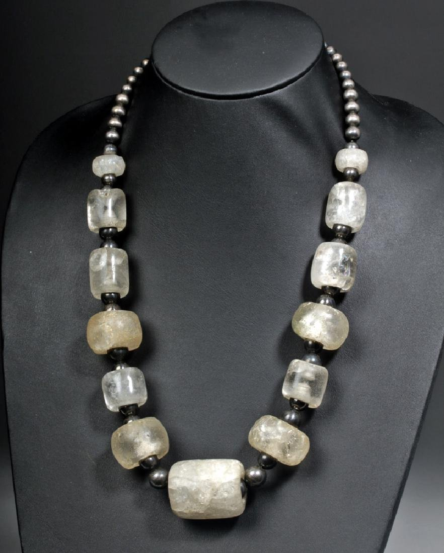Chavin Rock Crystal Necklace w/ Silver,  Hematite Beads