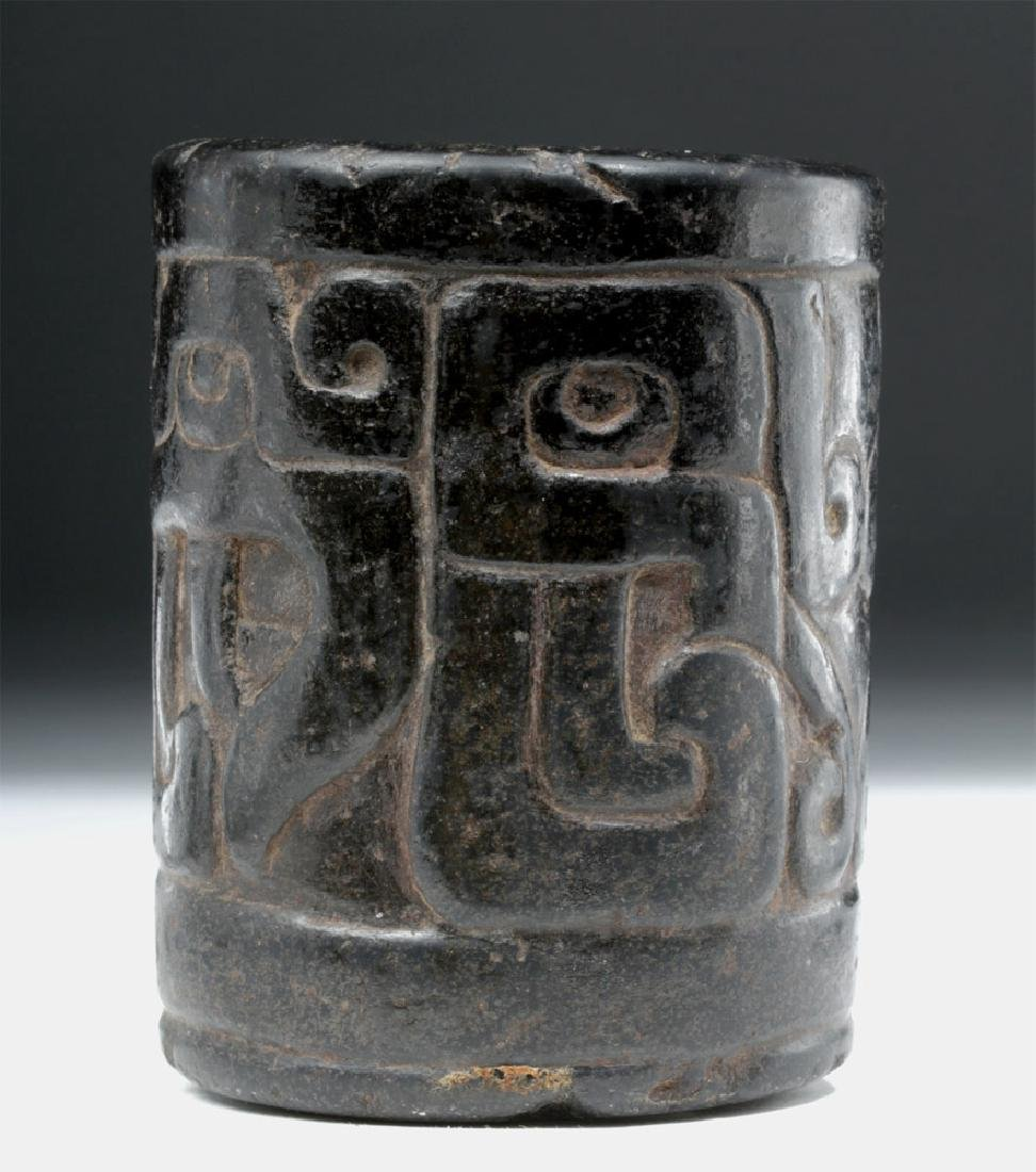 Important Chavin Carved Stone Cup - Feline & Serpent