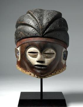 20th C. Kwese Mbala Wood Helmet Mask, Ex-christies