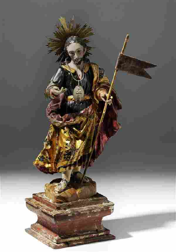 19th C. Mexican Wood Santo - The Resurrection of Christ