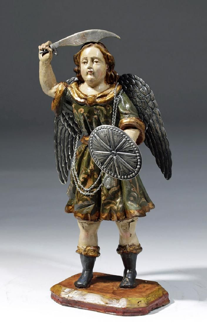 19th C. Mexican Wood Santo - St. Michael the Archangel