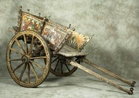 19th C. Sicilian Painted Wood Processional Market Cart