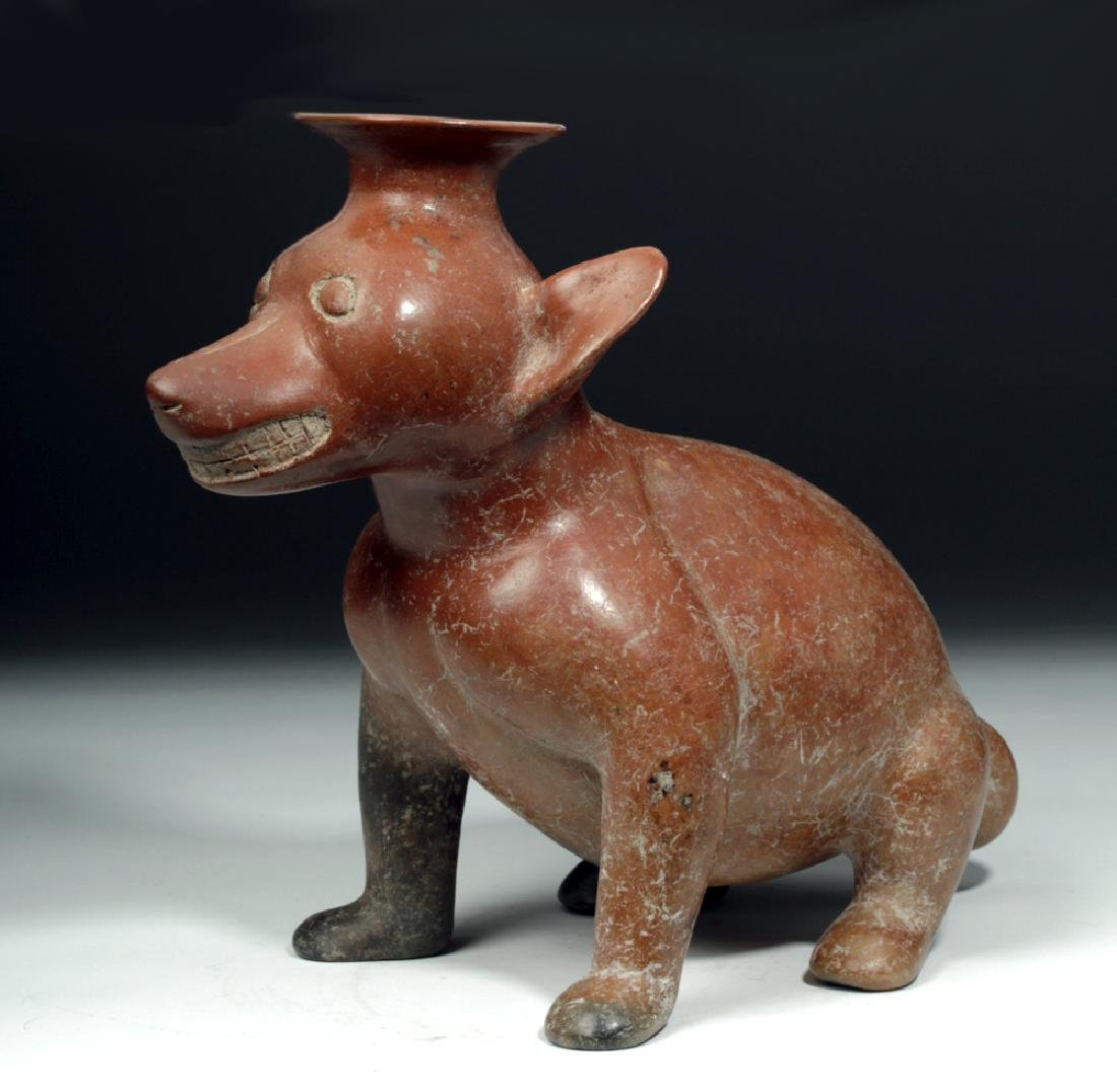 Fine / Large Colima Redware Seated Dog Effigy