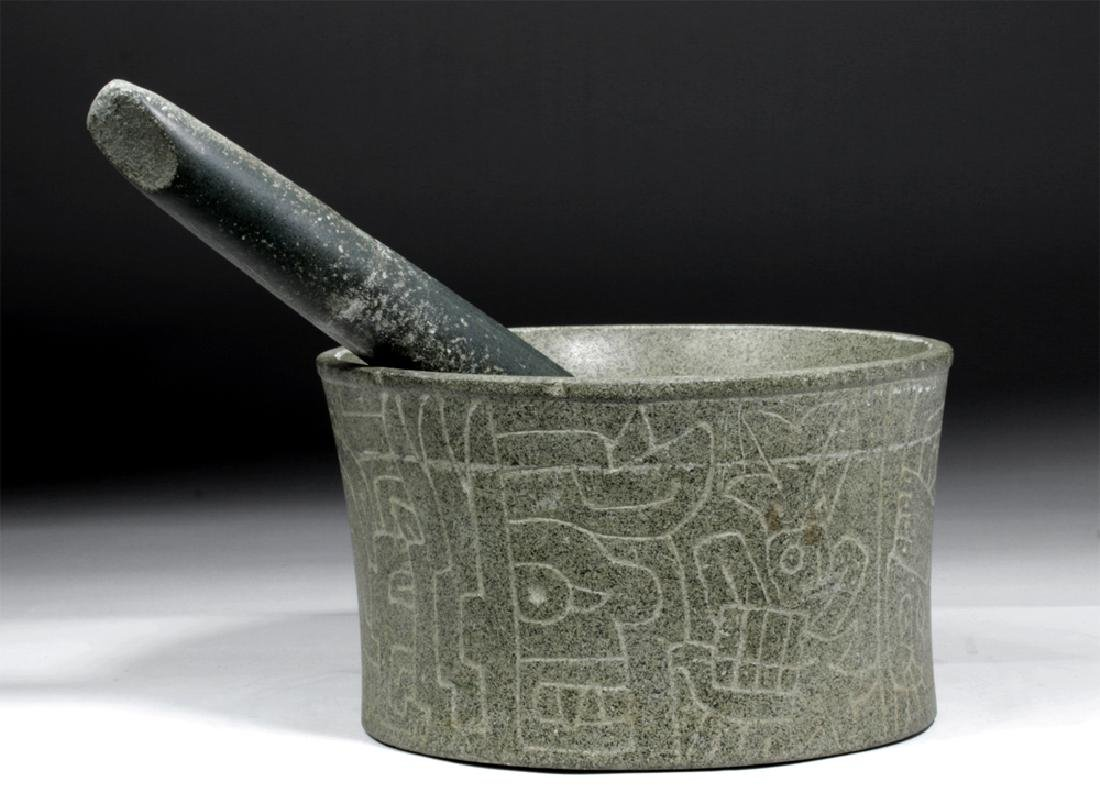 Huge Chavin Incised Stone Mortar & Pestle