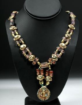Exquisite Moche 20k+ Gold / Precious Stone Necklace