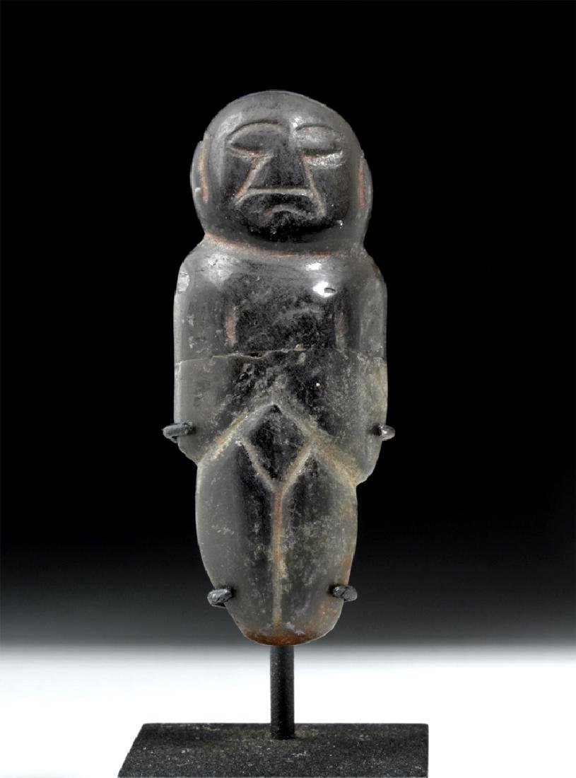 Fine Olmecoid Obsidian Carved Human Figure