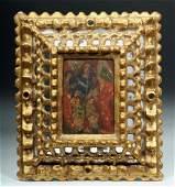 19th C. Mexican Retablo St. Michael, Gilt Wood Frame