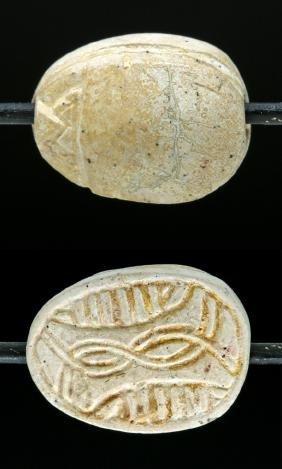 Egyptian Glazed Steatite Scarab Amulet