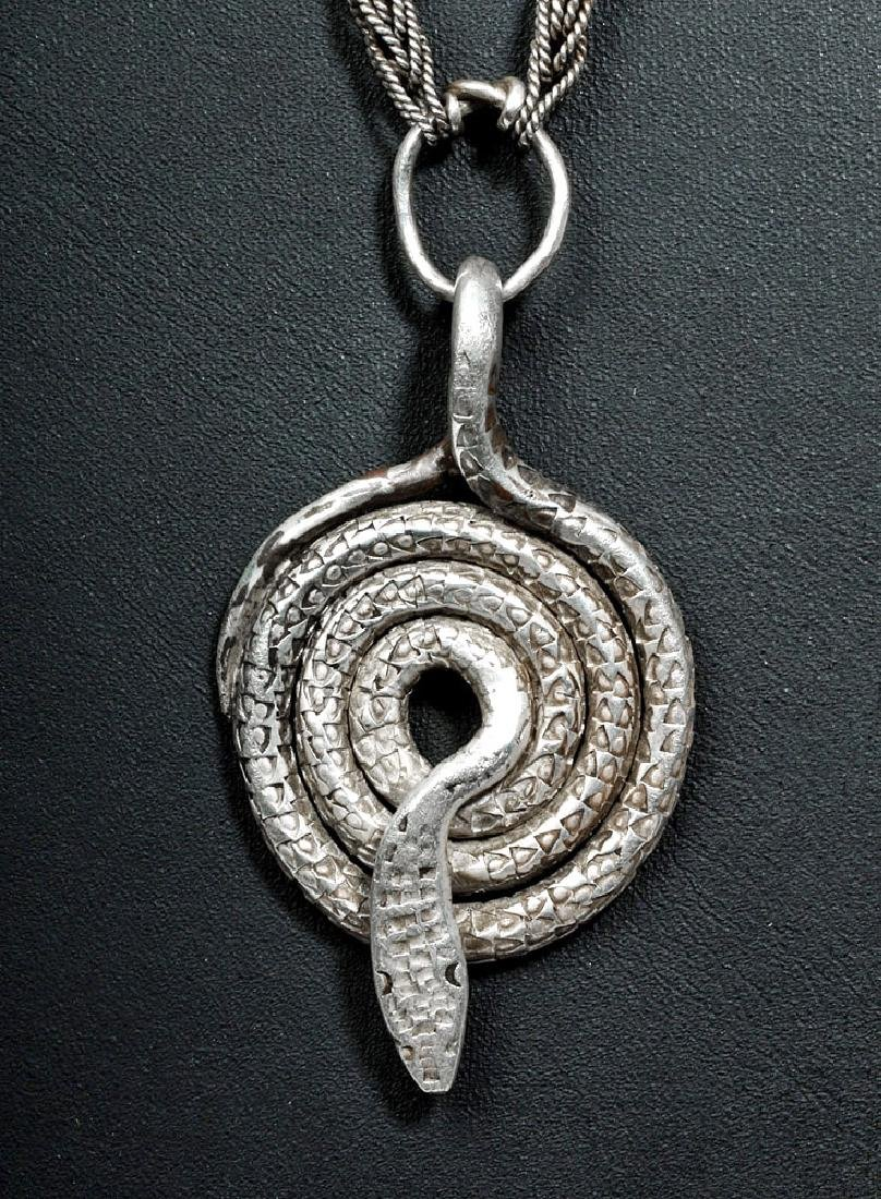 Viking Silver Knitted Chain w/ Coiled Snake - 99.2 g