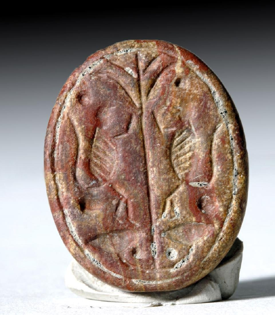 Ancient Iron Age Redstone Seal - Twin Birds