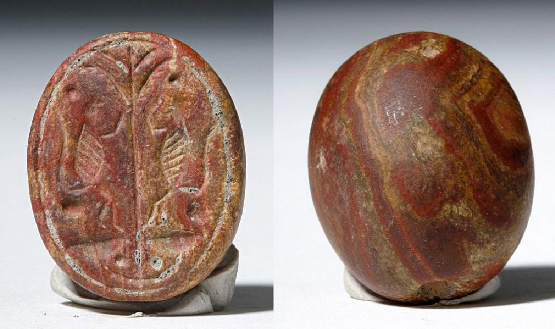 Ancient Iron Age Redstone Seal - Twin Birds - 3