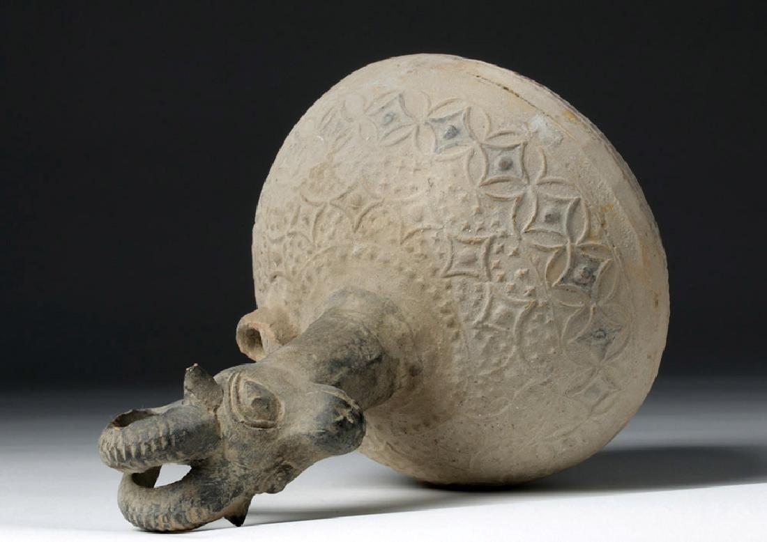 Islamic Pottery Ewer with Ibex Head - 6