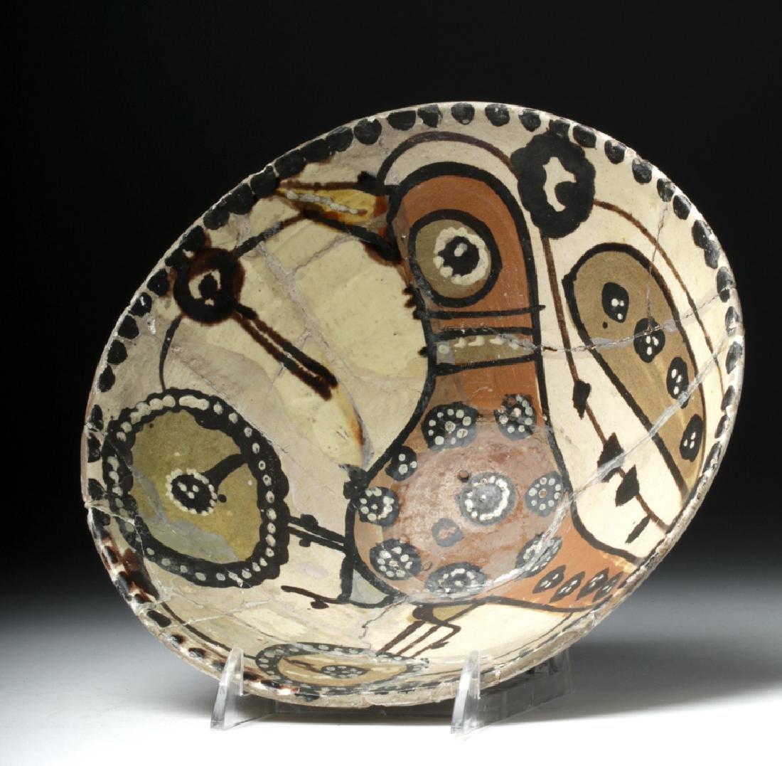 19th C. Persian Ceramic Bowl - Abstract Bird