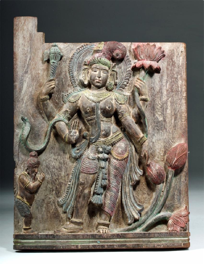 19th C. Indian Wood Shrine Carving - Jamuna & Cobra