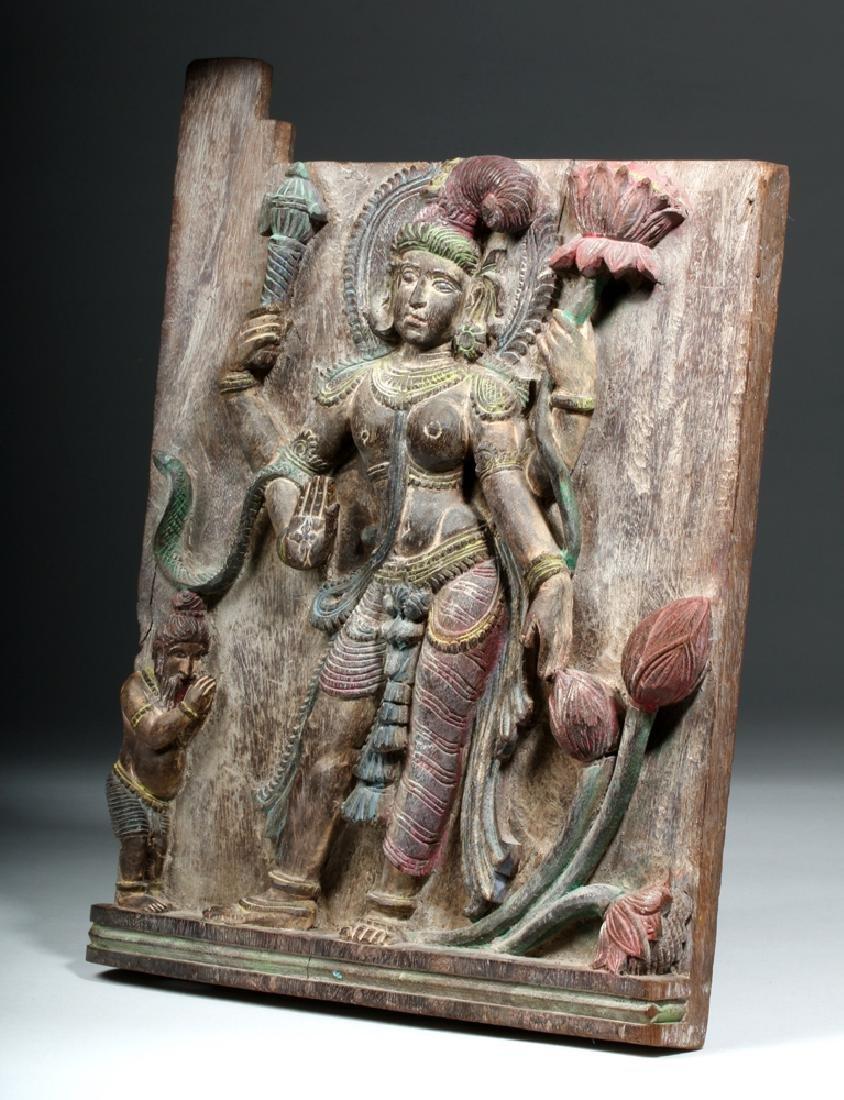 19th C. Indian Wood Shrine Carving - Jamuna & Cobra - 2