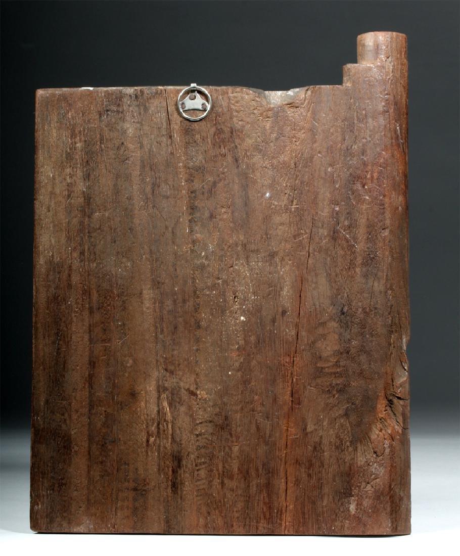 19th C. Indian Wood Shrine Carving - Jamuna & Cobra - 3