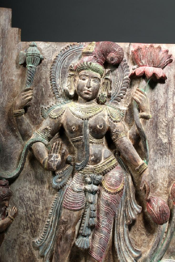 19th C. Indian Wood Shrine Carving - Jamuna & Cobra - 4