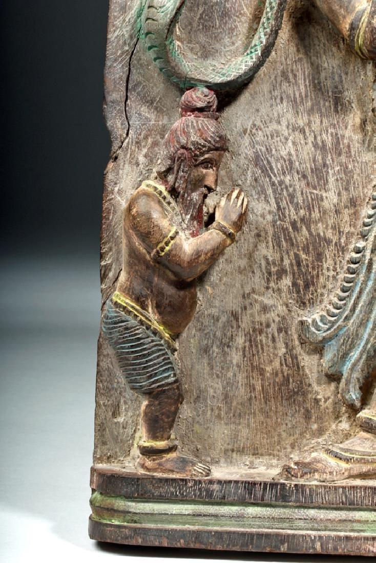19th C. Indian Wood Shrine Carving - Jamuna & Cobra - 5