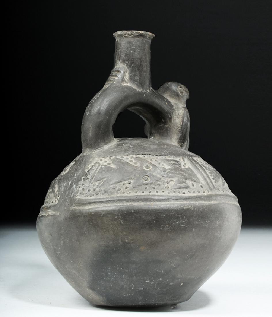 Chimu Blackware Pottery Jar - Birds & Fish - 5