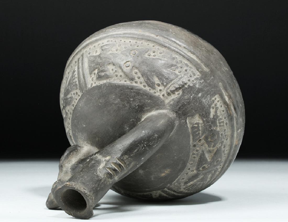 Chimu Blackware Pottery Jar - Birds & Fish - 7