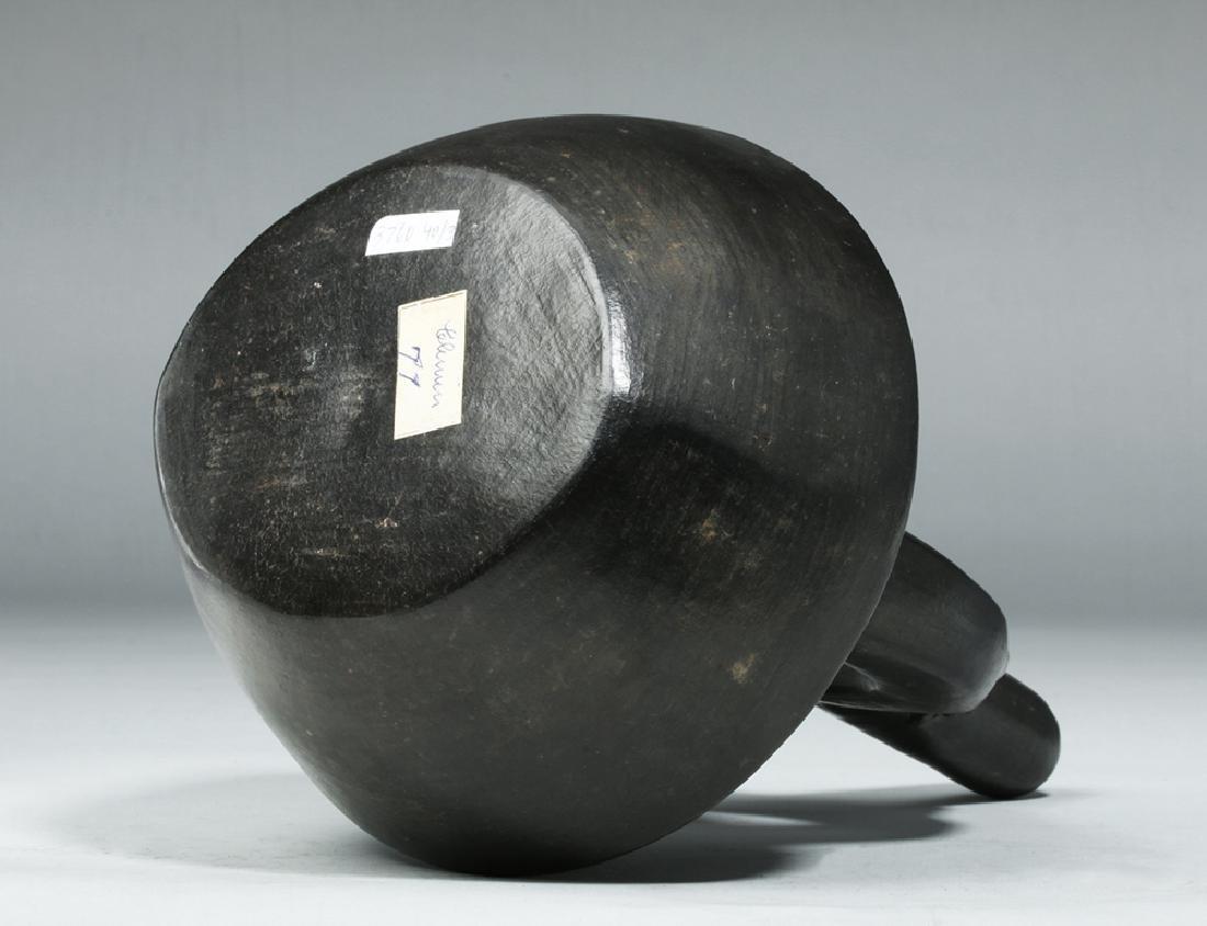 Chimu Inca Blackware Stirrup Jar - Monkey on Handle - 7