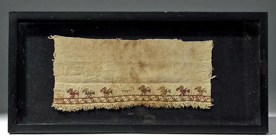 Framed Chancay Textile Panel w/ Water Birds on Waves - 2
