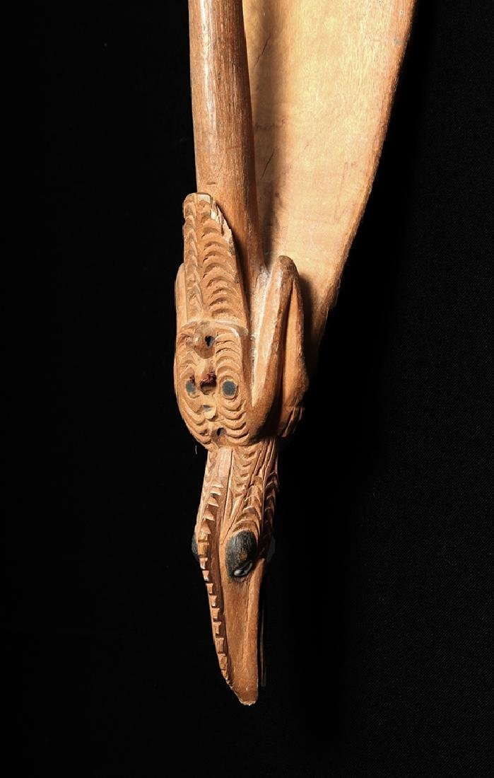 20th C. Large Papua New Guinea Carved Wood Shield- Bird - 2