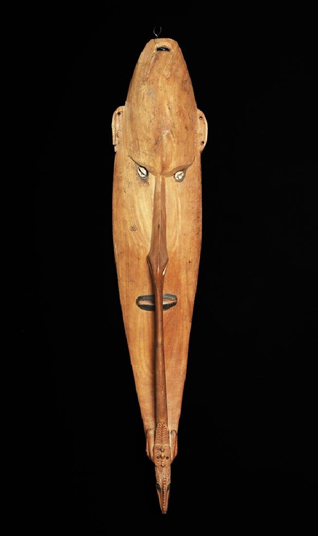 20th C. Large Papua New Guinea Carved Wood Shield- Bird - 3