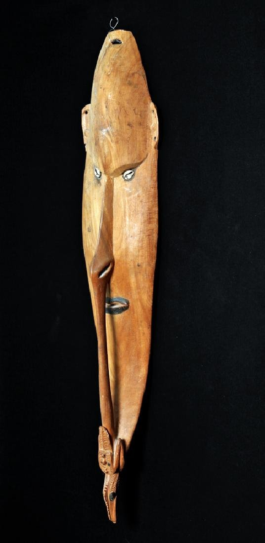 20th C. Large Papua New Guinea Carved Wood Shield- Bird - 5