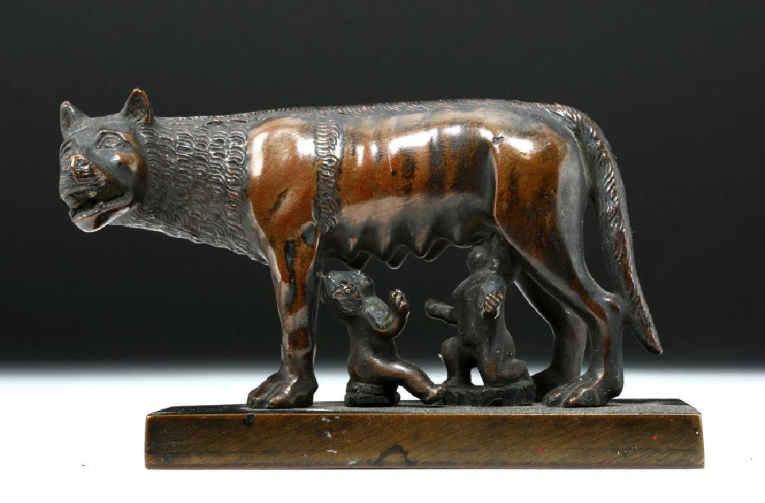 19th C. European Bronze She-Wolf Feeding Romulus, Remus