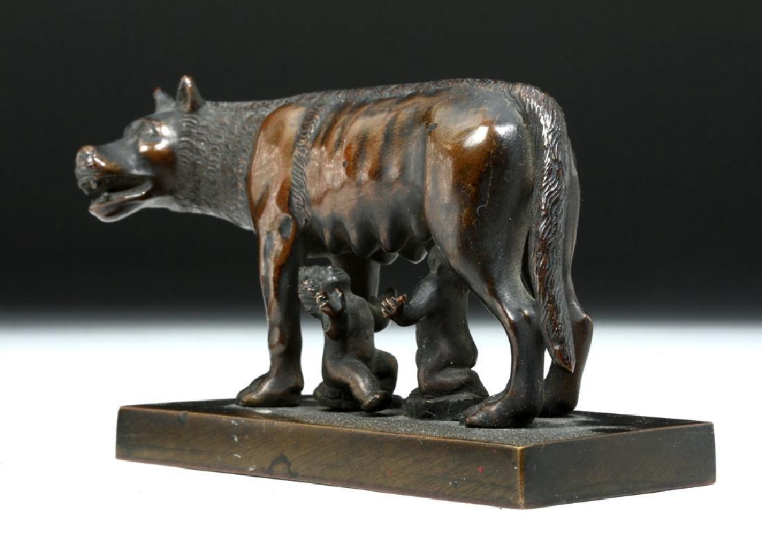 19th C. European Bronze She-Wolf Feeding Romulus, Remus - 2