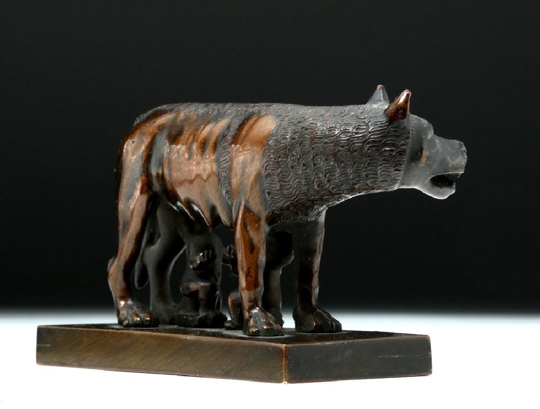 19th C. European Bronze She-Wolf Feeding Romulus, Remus - 4